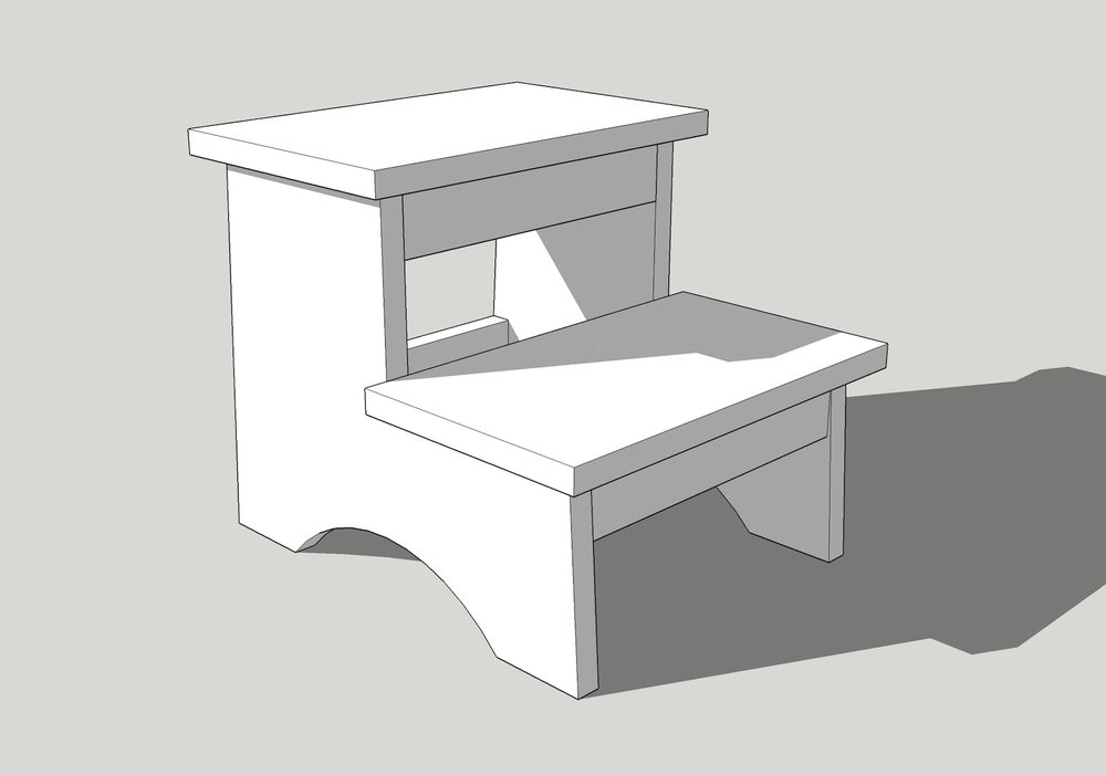 kid's step stool woodworking plans sketchup
