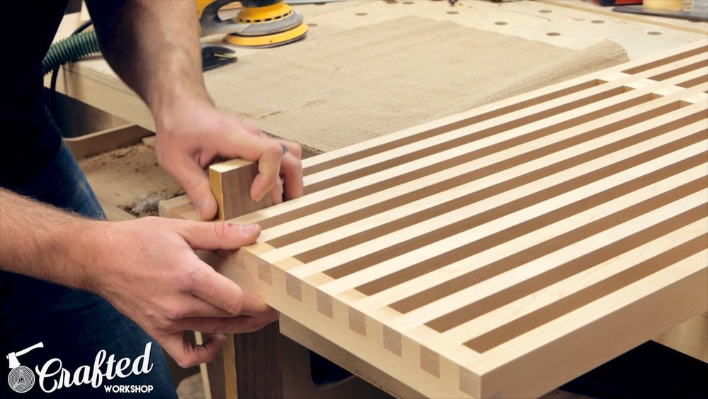 sanding in between slats on mid-century modern slatted bench