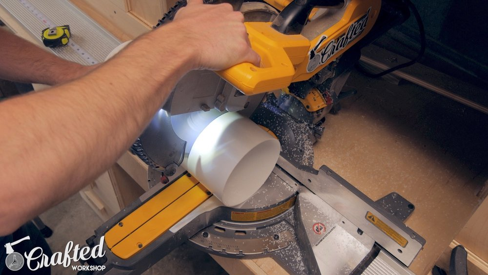 cutting 6 inch PVC on a miter saw