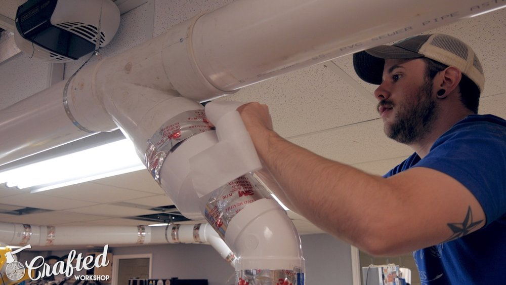 using foil tape to tape seams on PVC ductwork