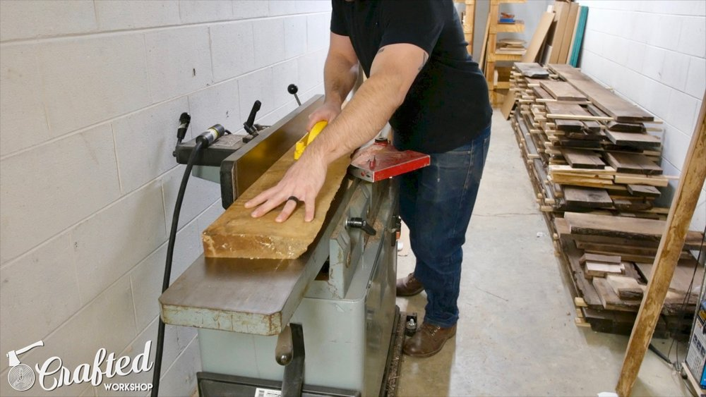 flattening live edge slab on jointer