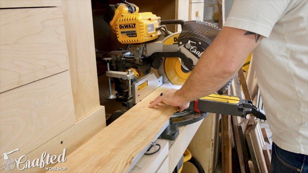 squaring live edge slab at miter saw