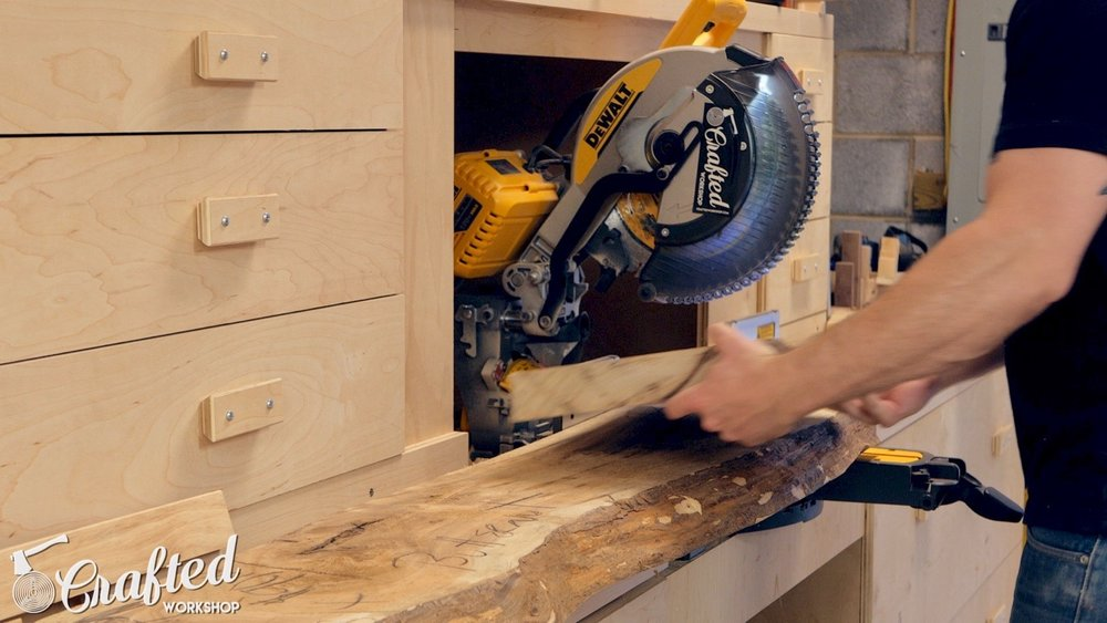 cutting live edge slab on dewalt flexvolt miter saw