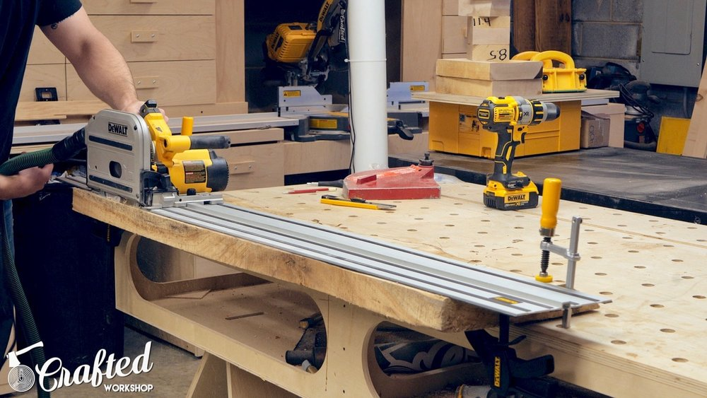 cutting live edge slab with dewalt tracksaw