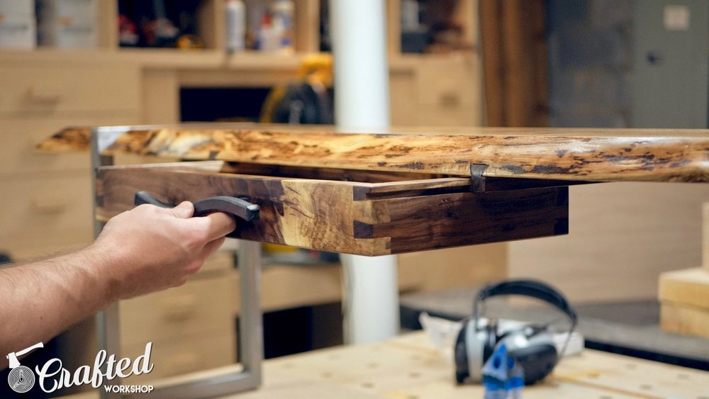 installing handcut dovetail walnut drawer onto sliding dovetail drawer slides
