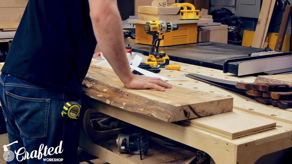 attaching live edge slab to planer sled for flattening
