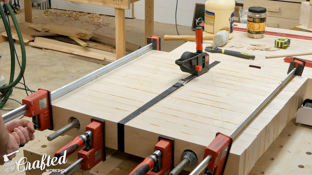 clamping hard maple with bessey parallel k body revo bar clamps