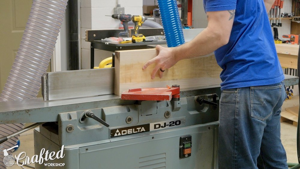 jointing maple board on delta dj-20 jointer
