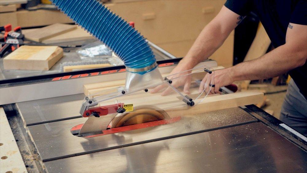 cutting hardwood scrap layers to width