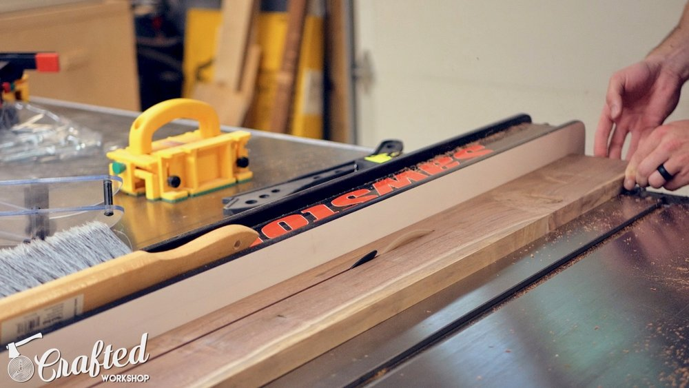 ripping solid Walnut on Sawstop ICS table saw