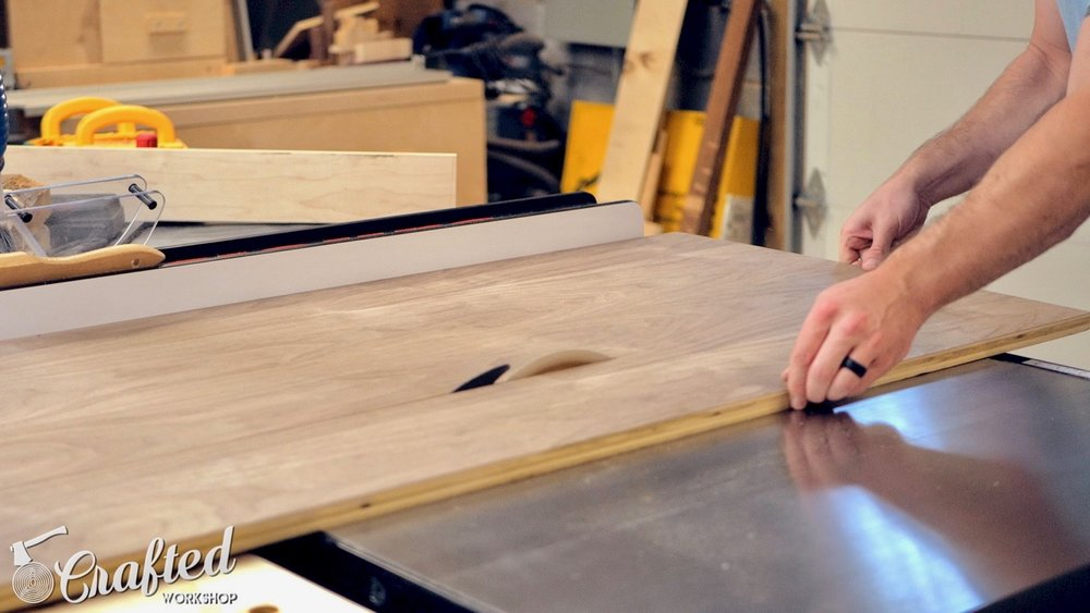 ripping walnut veneer plywood purebond on sawstop table saw
