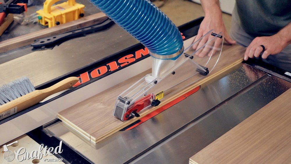 cutting plywood drawer sides to size on table saw
