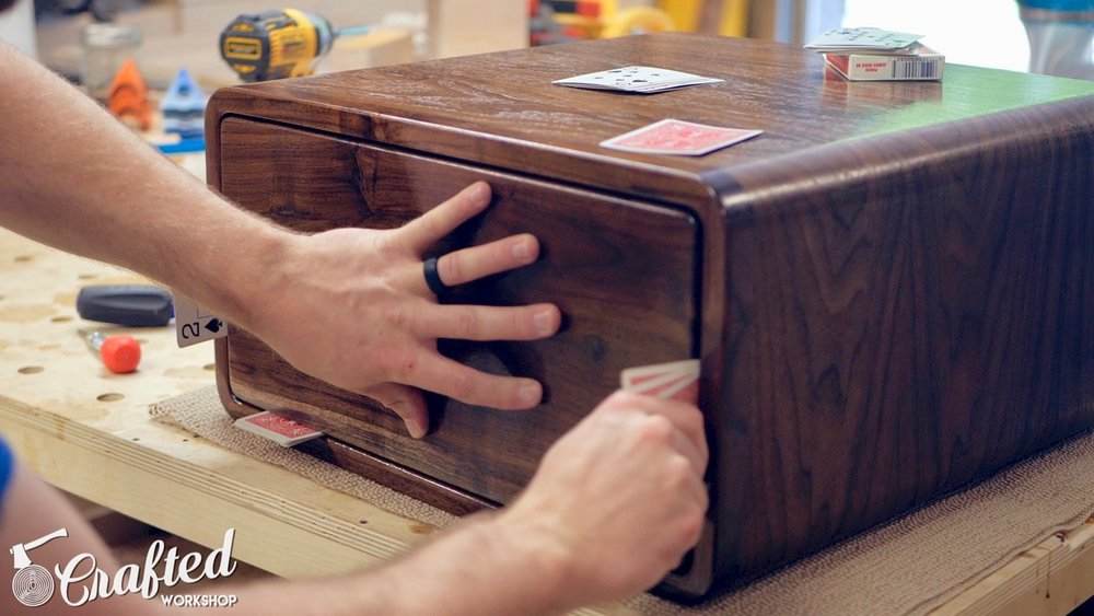 installing drawer fronts using playing cards as spacers