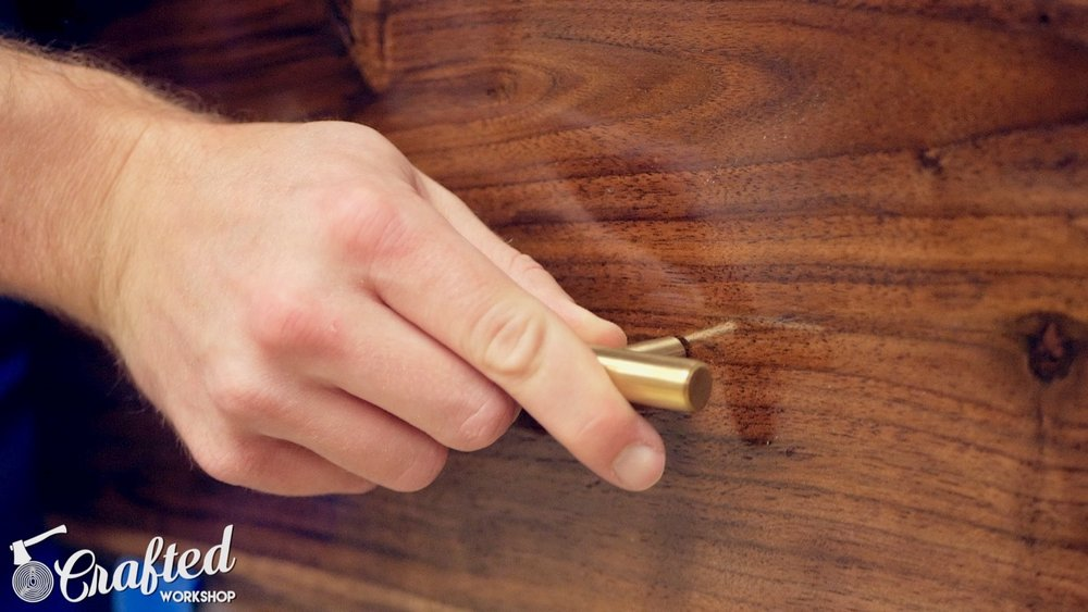 installing brass drawer pulls on mid-century modern walnut end table