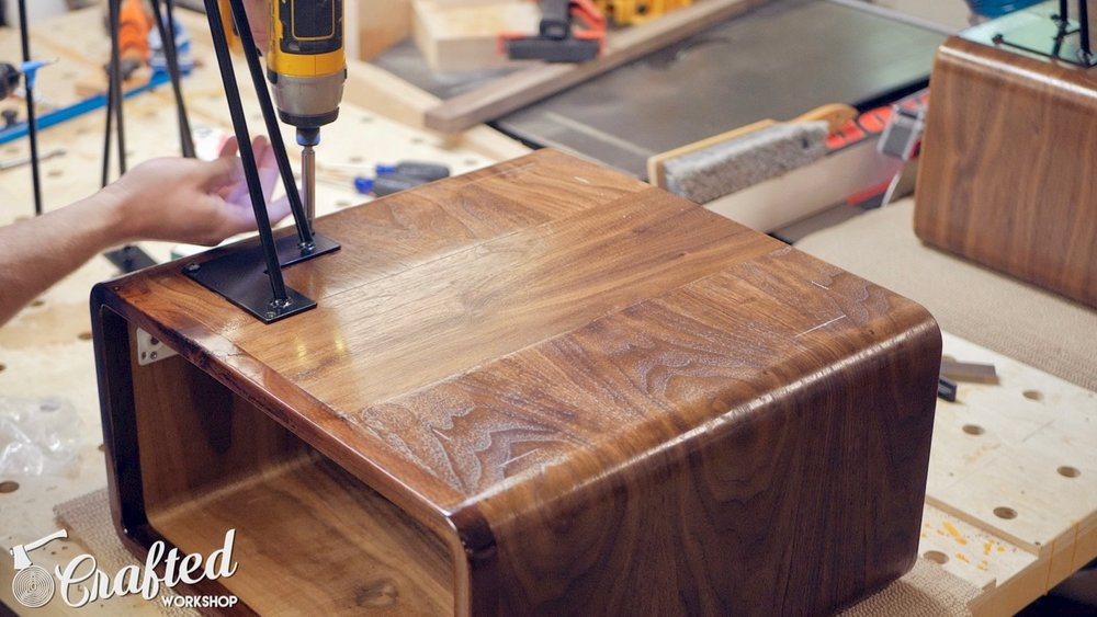installing hairpin legs on mid-century modern end table