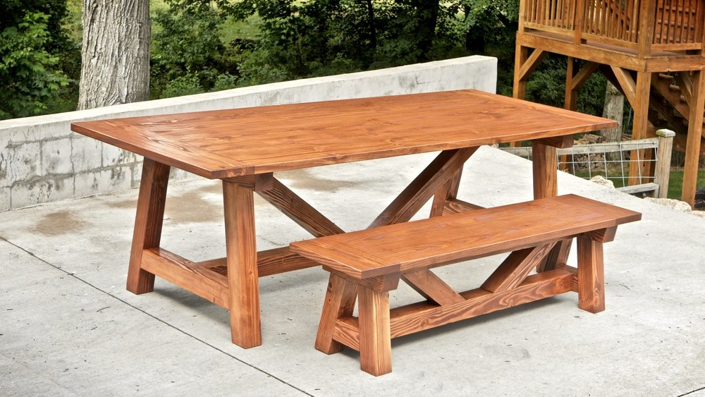How to build a farmhouse table and benches for 250 for Farm table woodworking plans