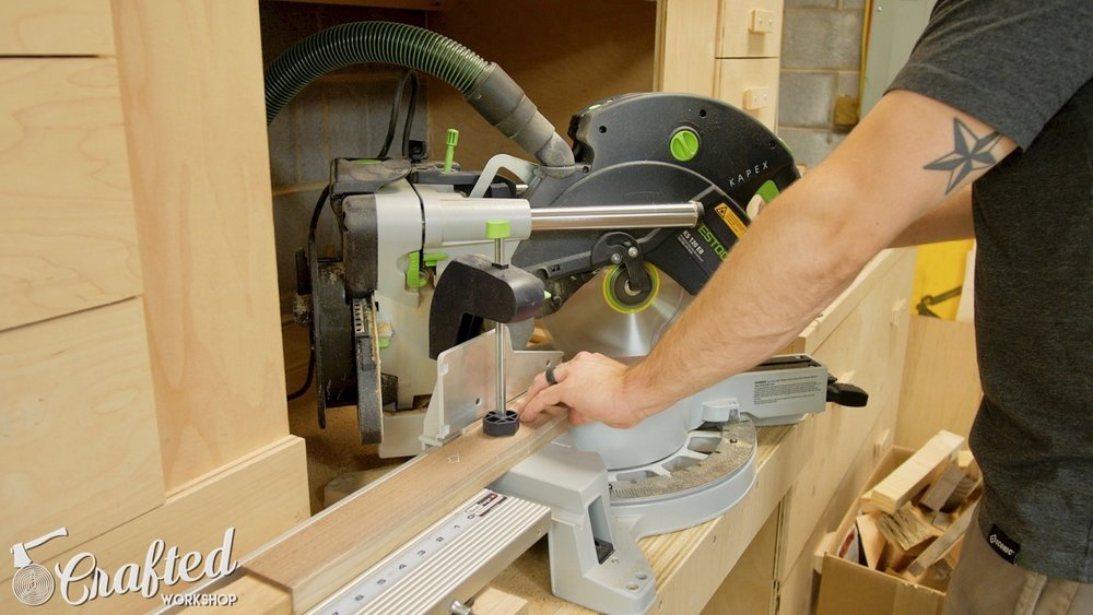 Cutting the miters on the end of the stool legs on the Festool Kapex miter saw.