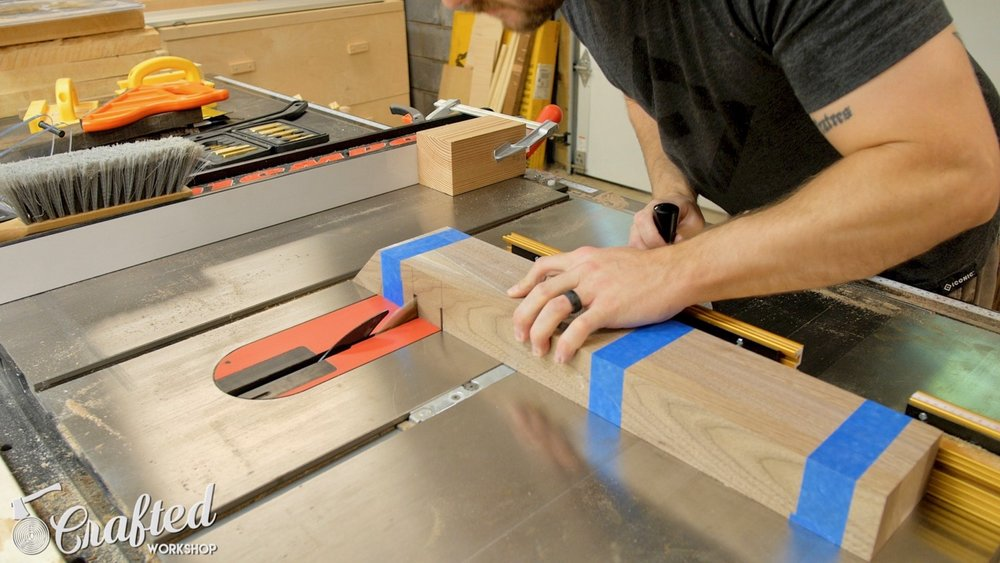 Cutting dados on the edges of the legs using my SawStop ICS table saw.