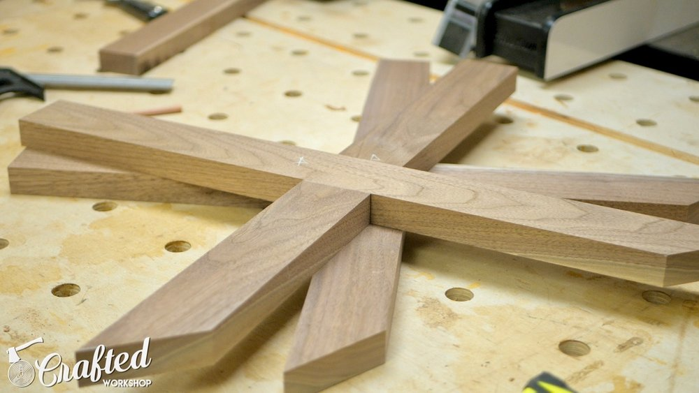 The legs, assembled using the half lap joints cut in the previous steps.