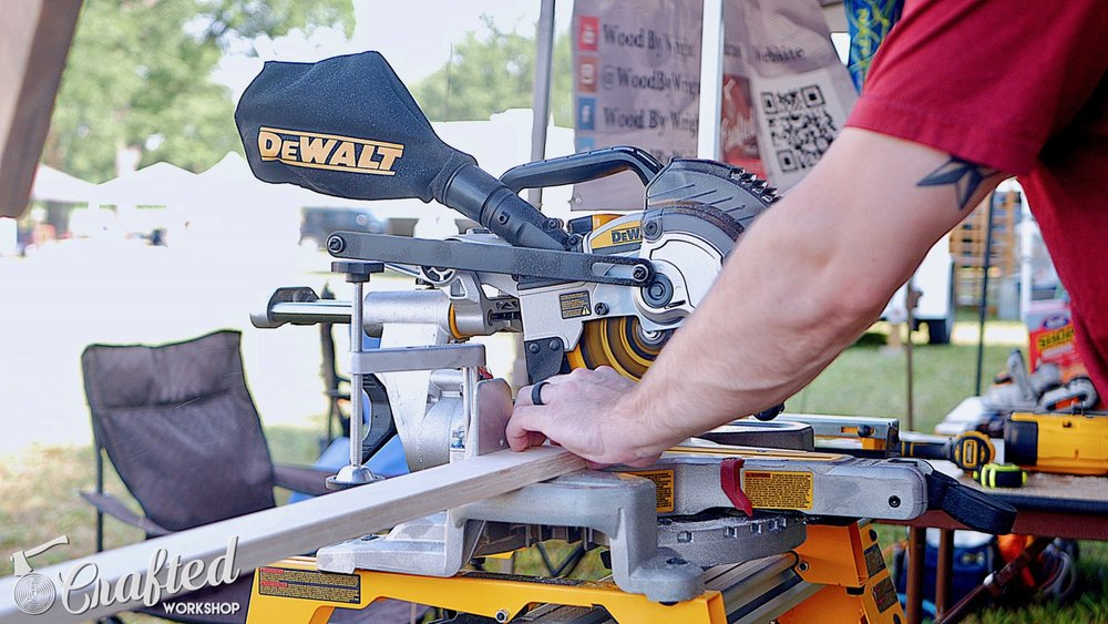 cutting plywood on the dewalt 20v max miter saw
