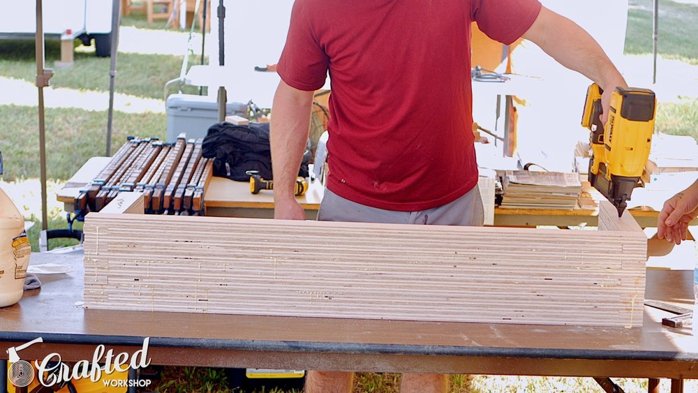 Gluing Up The Diy Plywood Coffee Table Using Glue And Brad Nails