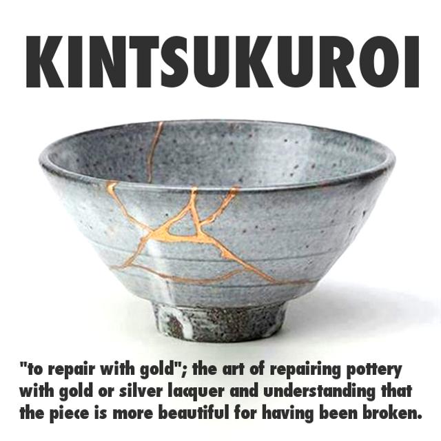 kintsukuroi japanese repairing pottery