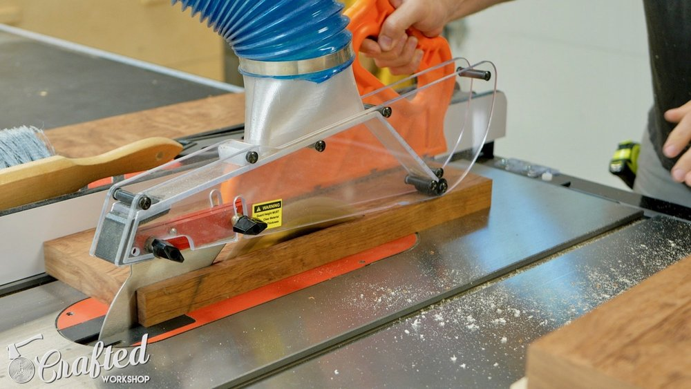 Ripping board on SawStop ICS table saw.