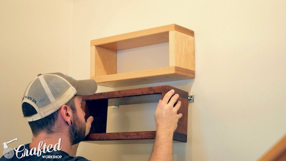 Installing DIY floating shelf using Rockler Blind Shelf Support hardware.
