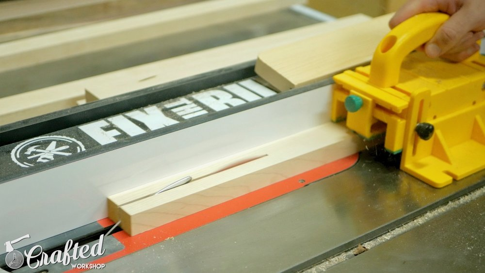 """Ripping Hard Maple strips to ⅝"""" wide on the SawStop ICS table saw."""