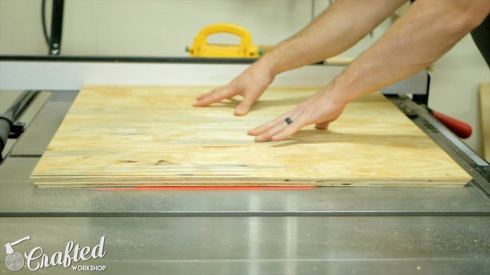 Cutting 45 degree bevel on all four edges of the plywood backing.