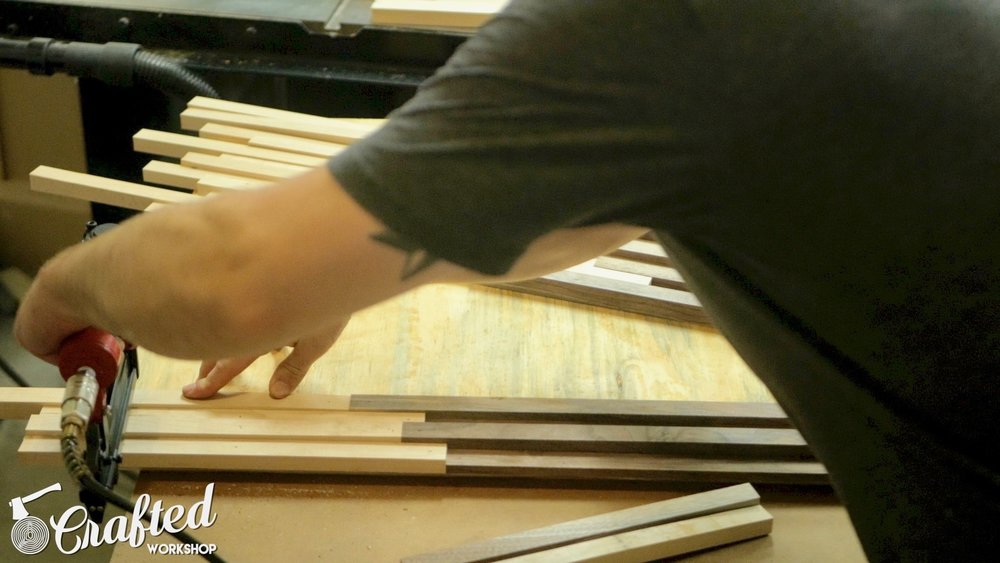 Attaching Hard Maple and Walnut strips to plywood using Arrow PT23G pin nailer.