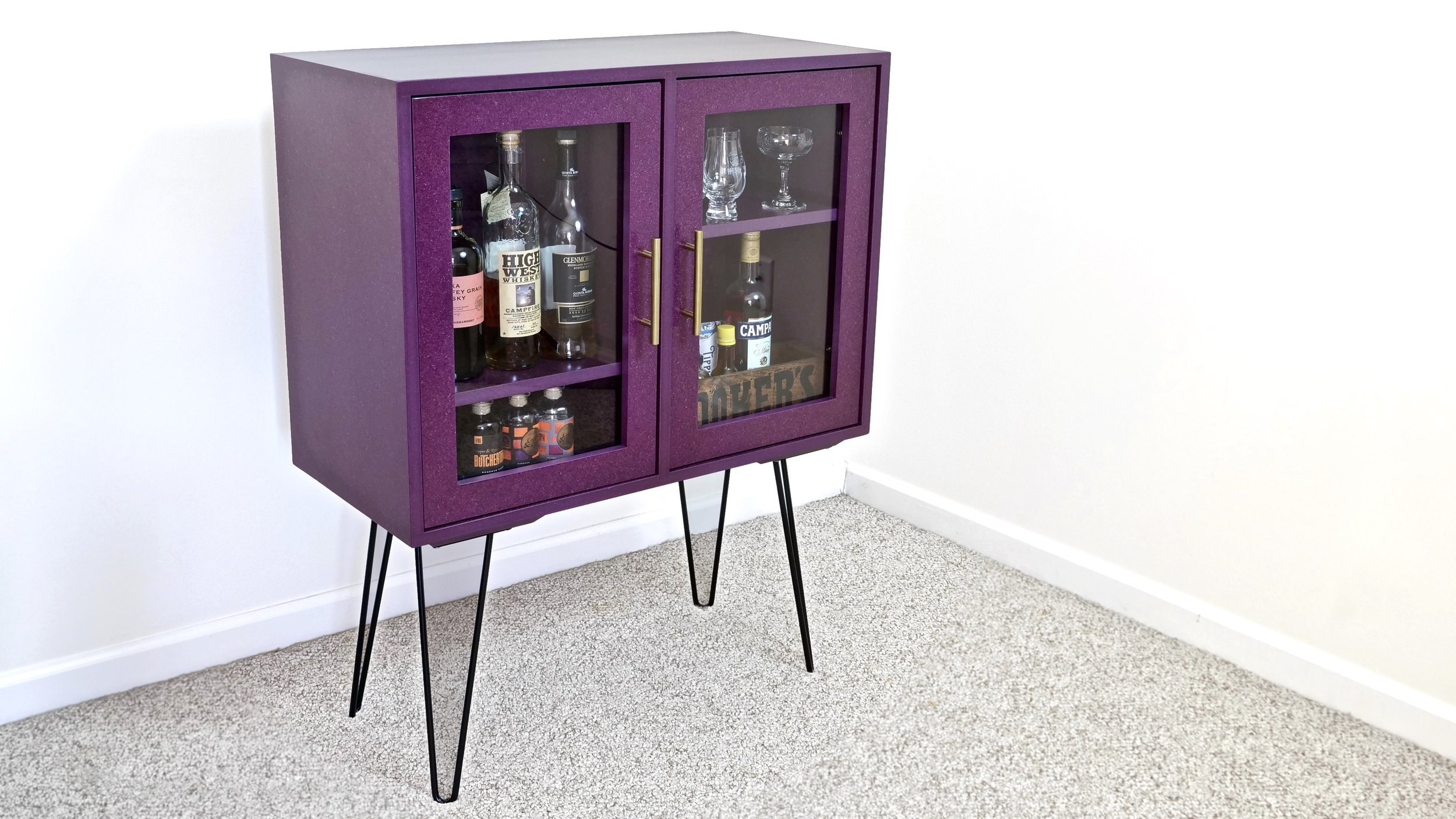 DIY Modern Bar Cabinet / Display Case With Hairpin Legs | How To Build    Woodworking