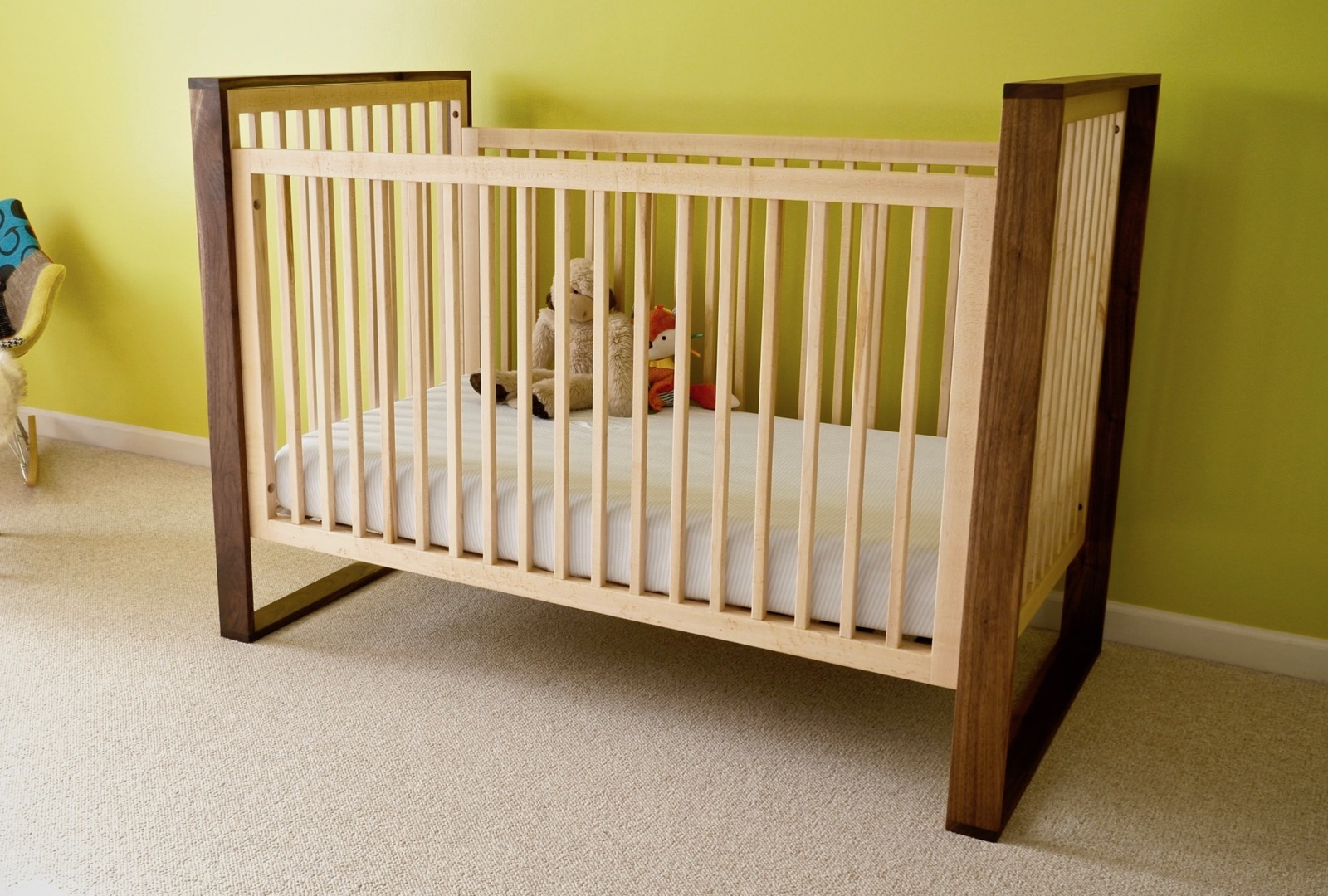 How To Build A Mid Century Modern Walnut And Maple Baby Crib Crafted Workshop