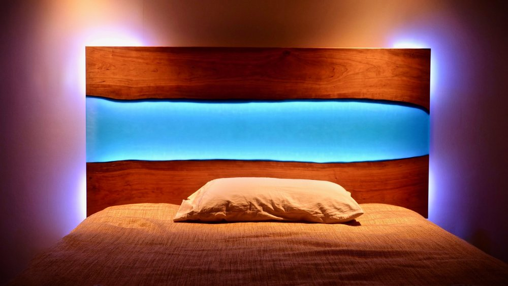 How To Build A Live Edge River Headboard Not Table With Led Lights Crafted Work