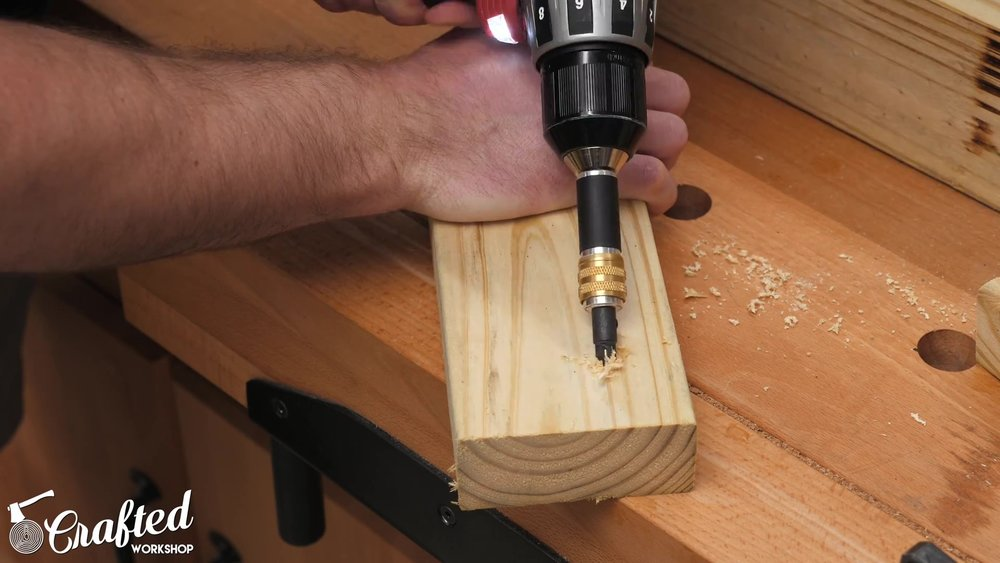 Drilling angled holes for toenail screws