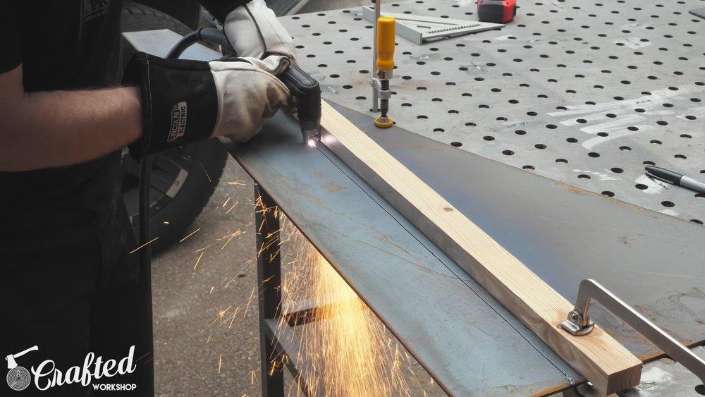 Plasma Cutting the Steel Base