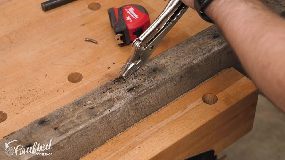 Pulling Nails from Reclaimed Lumber