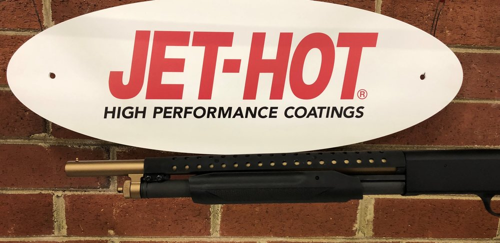 Jet-Hot Ceramic bronze barrel coating, with Ceramic matte black shield coating