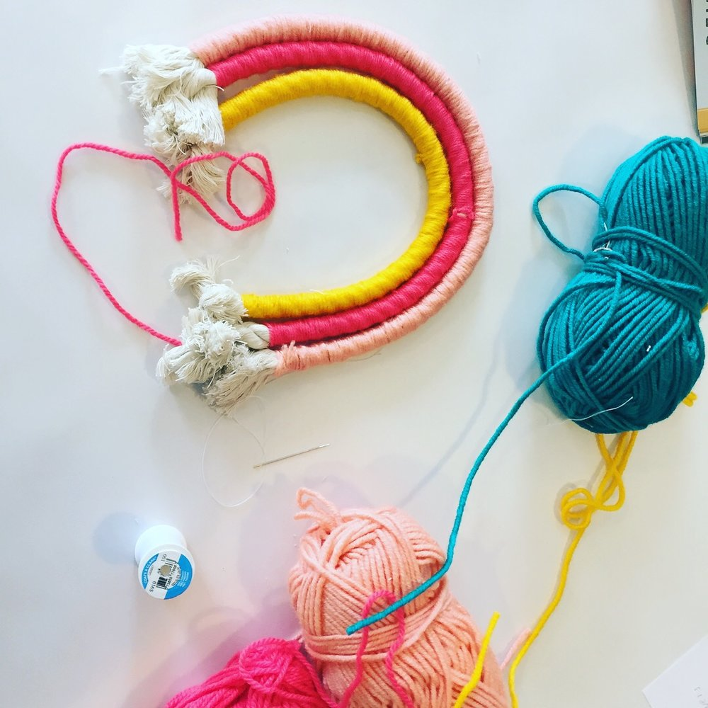 Ladies night! - October 16th 7p-9p$25/personThe first rain has come, and the nights are getting colder. It's time to spend an evening crafting and sipping wine. Please join us for our first ladies night at the studio! We will be making these lovely wrapped rope rainbows. All materials and wine are included.