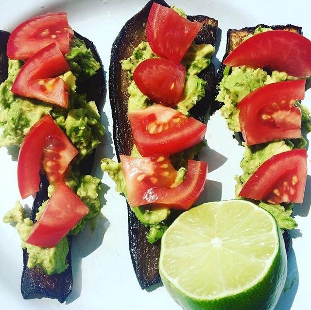 Eggplant bacon avocado snack