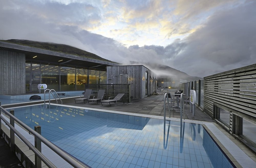 The pool at Fontana hot springs in Iceland