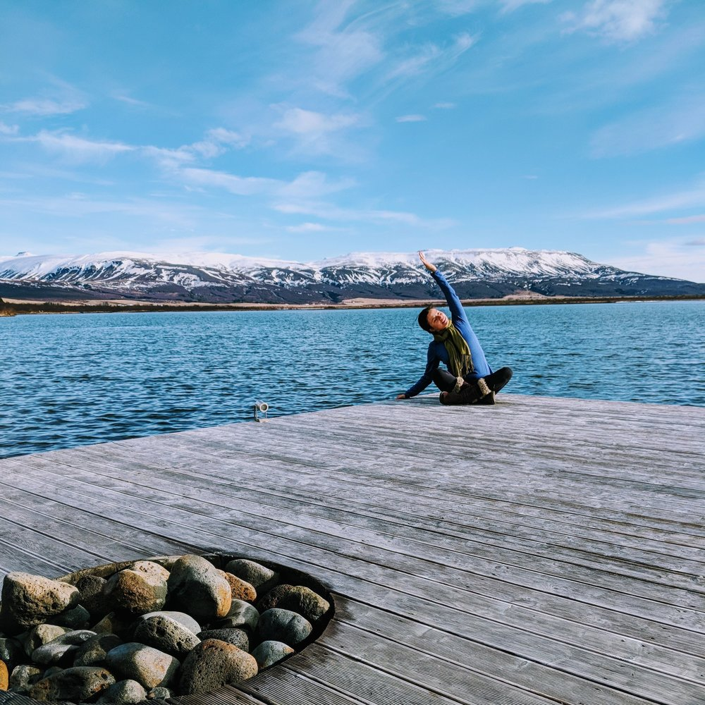 Morning yoga on the pier | Laugarvatn, Iceland