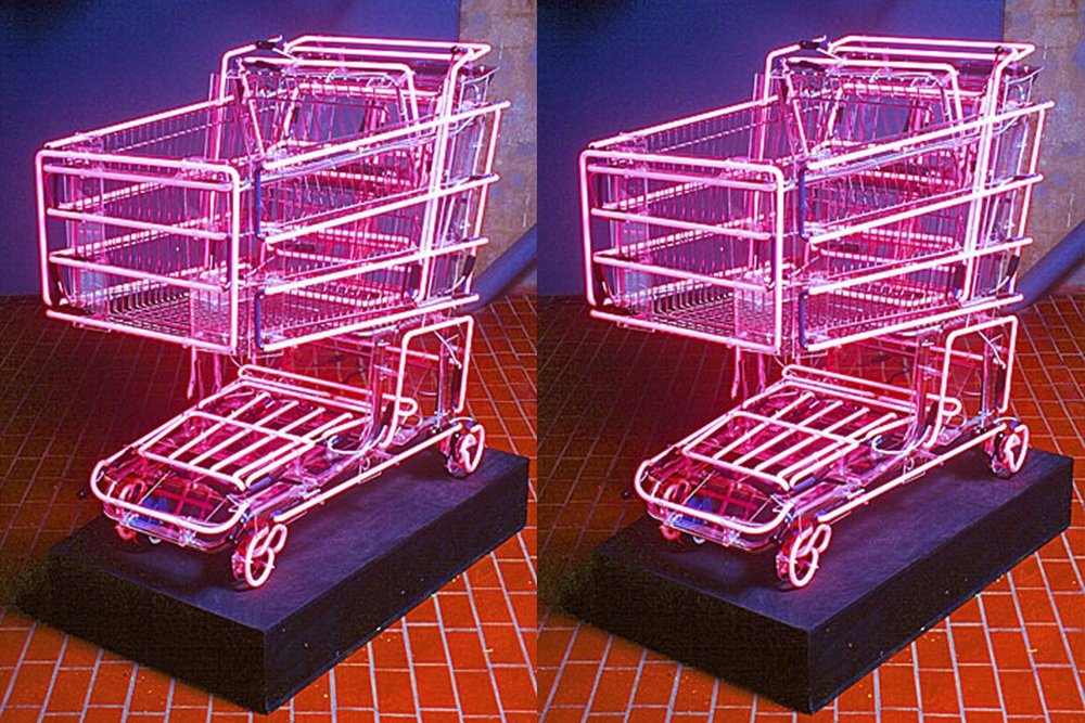 "Linda Dolack,  Hot Rod.  51"" x 41"" x 24"" Steel grocery cart, hot pink neon."
