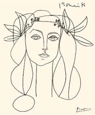 Line Drawing of Francoise Gilot - Pablo Picasso