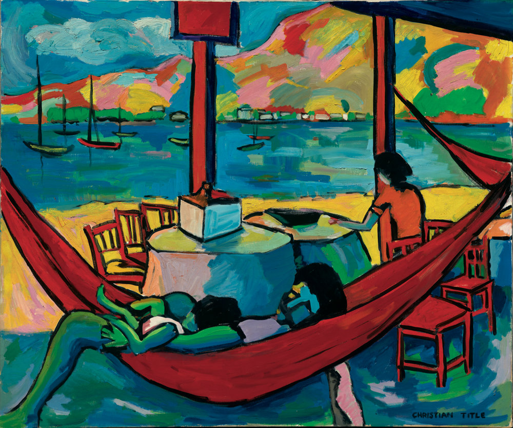 "THE RED HAMMOCK         36"" x 48""  OIL ON CANVAS   1958"
