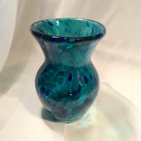 Teal Hand Blown Glass Vase Molten Color