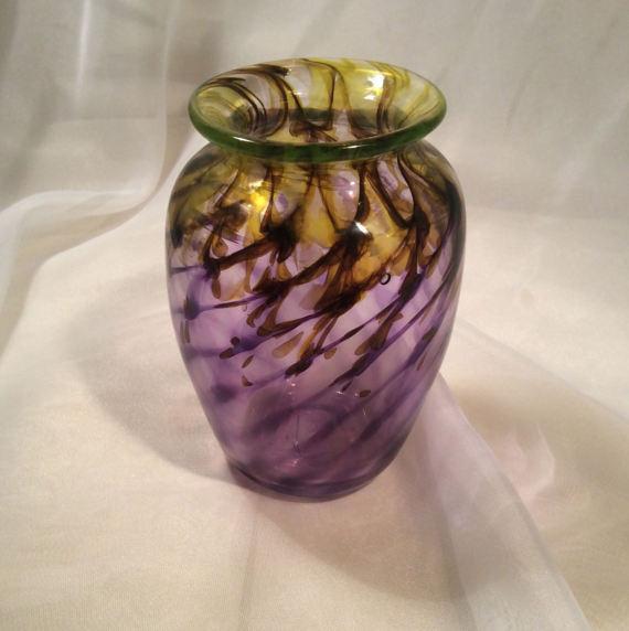 Purple Gold Spiral Hand Blown Glass Vase Molten Color