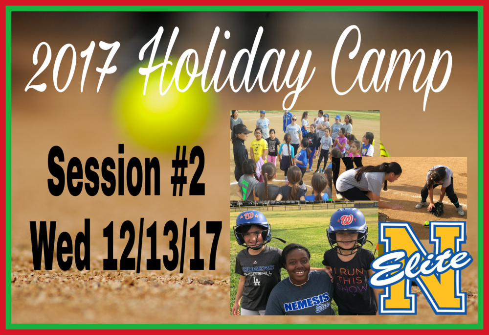 Camp Fielding #2 - Date: Wed 12/13/17Location: Discovery Sports Complex12400 Columbia WayDowney CA 90242Report Time: 4:45pmSession Hours: 5:00pm to 9:00pmBring: Softball gear, sunscreen lotion, running shoes, dumb bells (2lb, 5lb or 10lb), water, sports drink and healthy snack. Walk-Up campers welcomed...space is available.  For details txt Coach Manny at 323-997-1564.