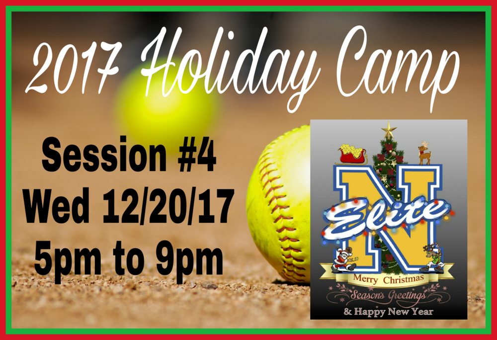 Camp Fielding #4 - Date: Wed 12/20/17Location: Discovery Sports Complex12400 Columbia WayDowney CA 90242Report Time: 4:45pmSession Hours: 5:00pm to 9:00pmBring: Softball gear, sunscreen lotion, running shoes, dumb bells (2lb, 5lb or 10lb), water, sports drink and healthy snack. Walk-Up campers welcomed...space is available.  For details txt Coach Manny at 323-997-1564.