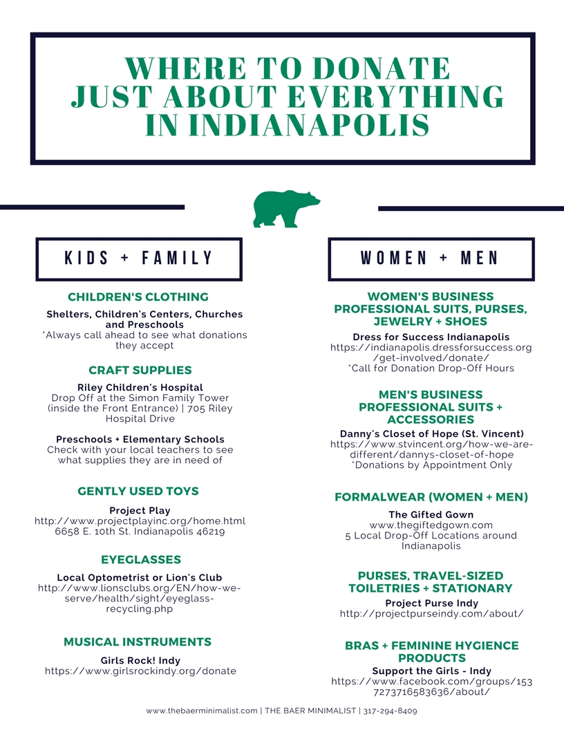 Page 1/2 | UPDATE // Where To Donate Just About Everything in Indianapolis Guide — The Baer Minimalist | Indianapolis Residential Organizer + Party Stylist